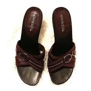 Aerosoles Women's Heel Sandals Size 8 Brown